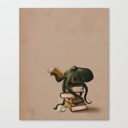 Well-Read Octopus Canvas Print