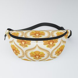 Ivory, Orange, Yellow and Brown Floral Retro Vintage Pattern Fanny Pack