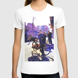 Boy with bicycle in Aleppo T-shirt