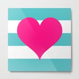 Hot Pink Heart on Teal Stripes Metal Print