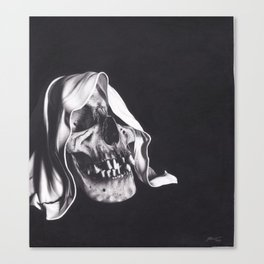 Realism Charcoal Drawing of Reaper Skull Canvas Print