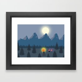 Bonfire camping in the mountains Framed Art Print