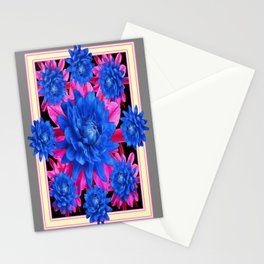 Decorative Blue-Purple Tropical Grey Floral Stationery Cards
