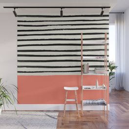 Coral x Stripes Wall Mural