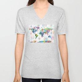 world map mandala white Unisex V-Neck