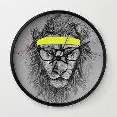 hipster lion Wall Clock