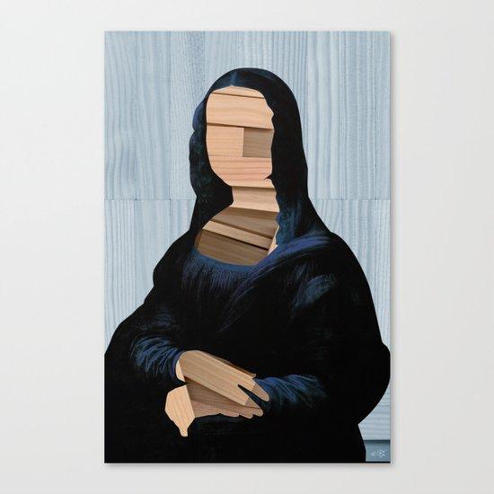 Mona Lisa - blue shining WoodCut Collage Canvas Print