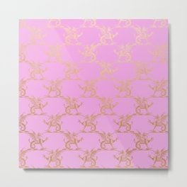 Princess like I - Gold glitter effect lion pattern on pink background #Society6 Metal Print