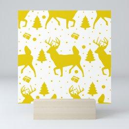 Deer pattern gold Mini Art Print