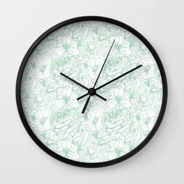 Of Peonies & Poppies - Hemlock Green Edition Wall Clock