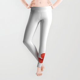 One Red Poppy White Background #decor #society6 #buyart Leggings