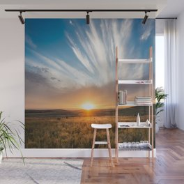 Grand Exit - Golden Sunset on the Oklahoma Prairie Wall Mural