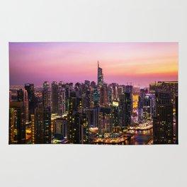 Skyline Jumeirah Lake Towers, Dubai, United Arab Emirates at Dusk Rug