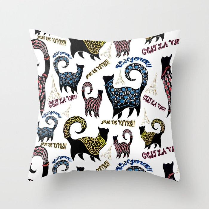 Le Snobby Cat Throw Pillow