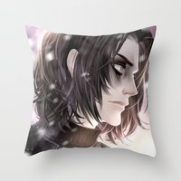 the winter soldier Throw Pillows featuring Winter Soldier by Lüleiya