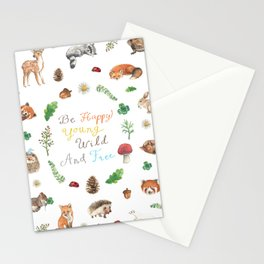 Be Happy, Young, Wild and Free Stationery Cards