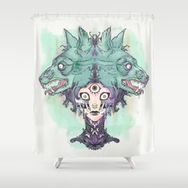 VooDoo Priestess Witch With Third Eye And Wolves Shower Curtain