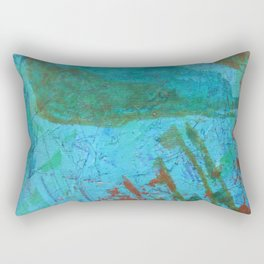 Blue ocean - abstract,acrylic, minimal art piece in shades of blue Rectangular Pillow
