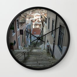 Lisbon stairs Wall Clock