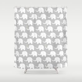 Elephant Parade on Grey Shower Curtain