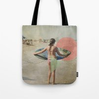 surfer Tote Bags featuring Surfer  by Mary Kilbreath