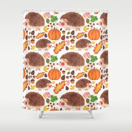 Autumn Hedgehog Shower Curtain
