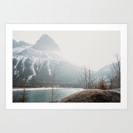 Snow On Ha Ling Peak Art Print