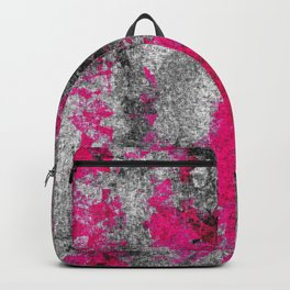 vintage psychedelic painting texture abstract in pink and black with noise and grain Backpack