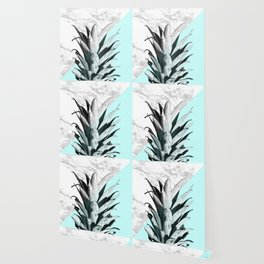 Pineapple Top Marble Pastel Blue Wallpaper