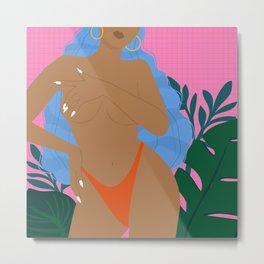Handful // Woman, Femme, Feminine, Pink, Blue, Plants, Cute, Thong Metal Print
