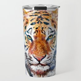 Tiger Head watercolor Travel Mug