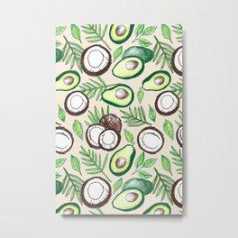 Coconuts & Avocados Metal Print