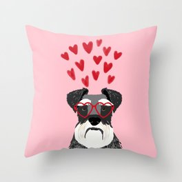 Schnauzer head valentines day dog breed gifts for pure breed rescue dogs Throw Pillow