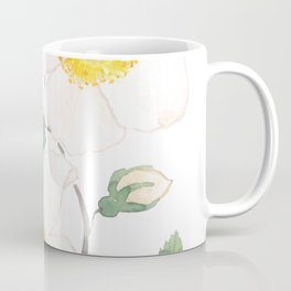 white wild Rosa rubiginosa watercolor Coffee Mug