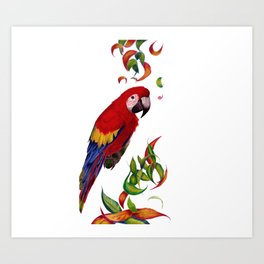 red parrot with rainbow leaves Art Print