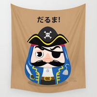 pirates Wall Tapestries featuring Pirates Daruma by elysiaillustration