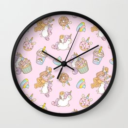 Bubu and Moonch, kawaii Guinea pig and unicorn pattern in pink  Wall Clock
