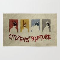 bioshock Area & Throw Rugs featuring Bioshock - Citizens of Rapture by Art of Peach