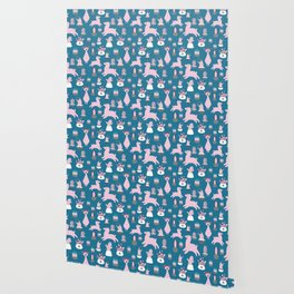 Alpaca fun teal Wallpaper