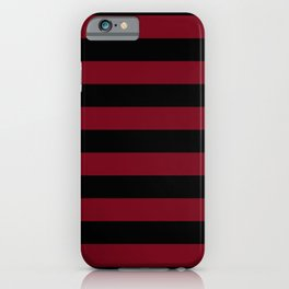 Crimson Burundy Red and Pure Black Stripes iPhone Case