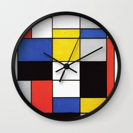 Mondrian's Composition A (High Resolution) Wall Clock