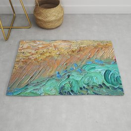Wheat Field with Cypresses Brush Detail by Vincent van Gogh Rug