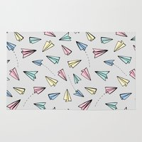 airplanes Area & Throw Rugs featuring Paper Planes in Pastel by Tangerine-Tane