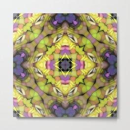 Lime Green Purple Pink Mandala Mosaic Pattern Metal Print
