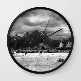 Horse and Grand Teton (Black and White) Wall Clock