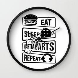 Eat Sleep Martial Arts Repeat - Martial Art Fight Wall Clock