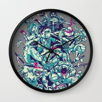 ninja turtles Wall Clocks featuring Teenage Zombie Ninja Turtles by Charlie Layton