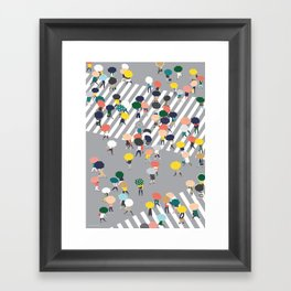 Crossing The Street on a Rainy Day - Grey Framed Art Print