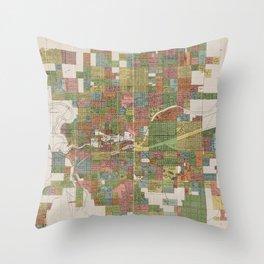 Vintage Map of Spokane WA (1910) Throw Pillow