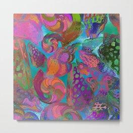 Seashells. Watercolor textured pattern. Metal Print